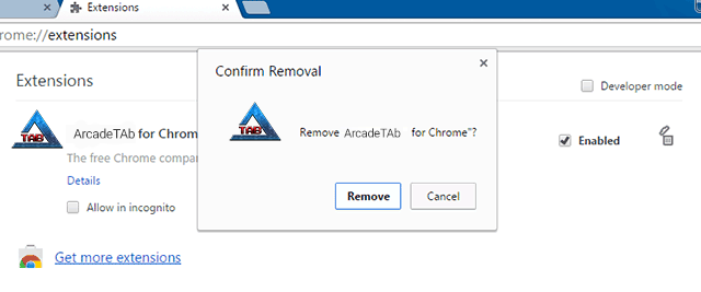 Click Trash Can Icon to Uninstall Extension
