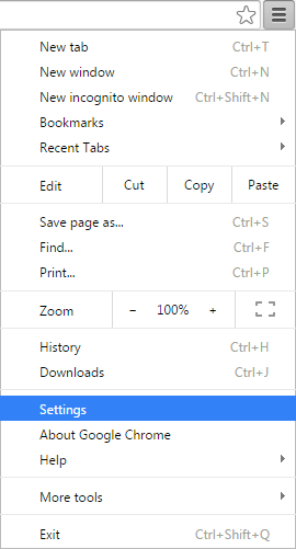 Open Settings on Chrome Browser